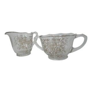 Vintage Etched Glass Cream & Sugar