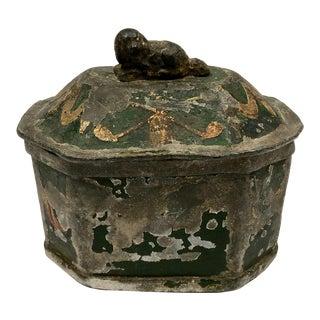 Early 1900s Decorative Lead Tobacco Box For Sale