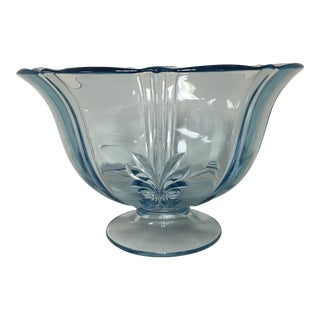 1940's Fostoria Baroque Azure Blue Beverage Serving Bowl For Sale