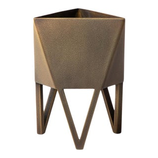 Medium Deca Planter in Antique Brass by Force/Collide For Sale