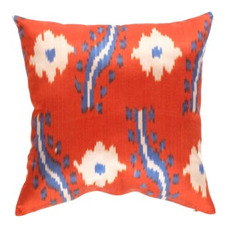 Turkish Hand Woven Silk Ikat Pillow 20' #Ti 293 For Sale