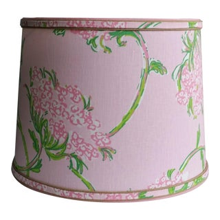 Large Lampshade Lilly Pulitzer Fabric Floral Pink For Sale
