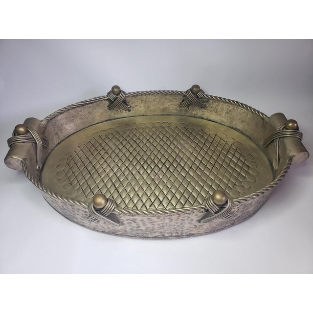 1980s Vintage John Richard Collection Silver Plate Hammered Serving Tray For Sale - Image 5 of 13