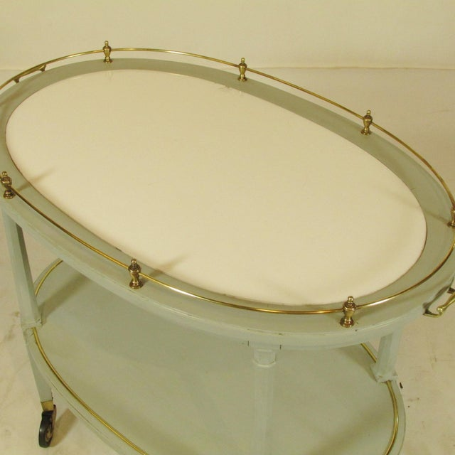Louis XVI English Gray Painted Tea Cart For Sale - Image 3 of 11