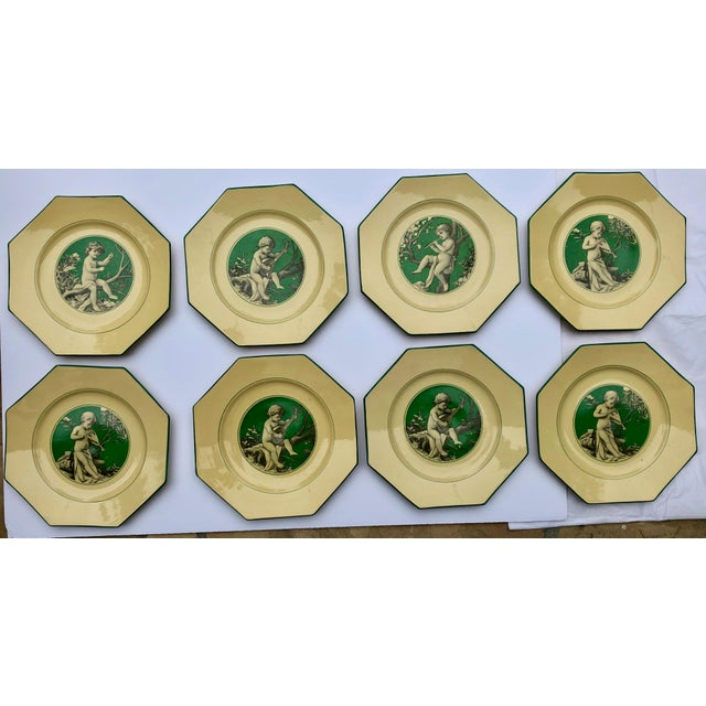 Majolica French Sarreguemines Majolica Cupid Plates - Set of 8 For Sale - Image 4 of 13
