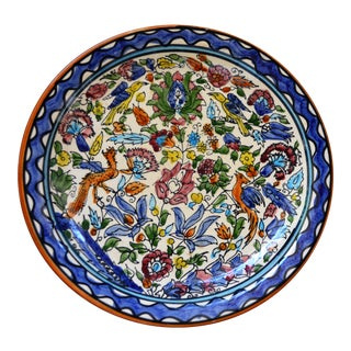 Italian Majolica Hand Painted Dish Plate Wall Blue White Green Red Handmade Vintage