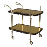 Image of Cesare Lacca Italian Art Deco Brass and Mahogany Bar Cart For Sale