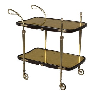 Cesare Lacca Italian Art Deco Brass and Mahogany Bar Cart For Sale