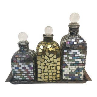 Mosaic Decanters with Tray - Set of 4 For Sale