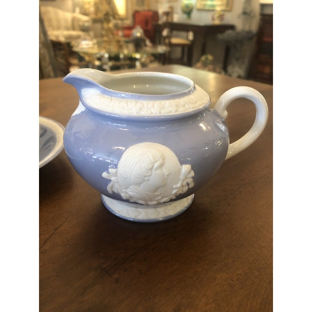 Vintage Musterschultz Cameo Tea Set in Powder Blue and White -Set of 17 For Sale - Image 11 of 13