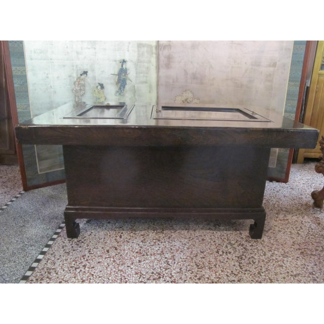Metal Japanese Dark Wood Grain Hibachi Coffee Table With Drawers For Sale - Image 7 of 11