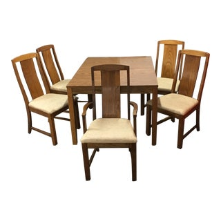 Mid-Century Laminate Table & Upholstered Oak Chairs - Set of 6 For Sale