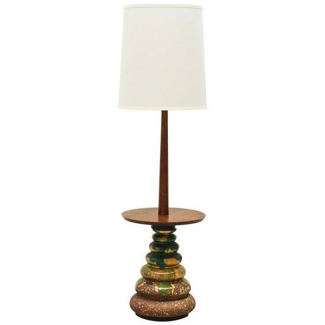 1960s California Studio Ceramic Drip-Glaze Floor Lamp With Teak Table For Sale - Image 9 of 10