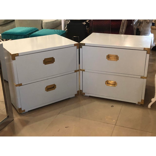 1970s Vintage Lane Furniture Newly Lacquered Powder Blue Brass Campaigner Nightstands Chests -A Pair For Sale - Image 5 of 13