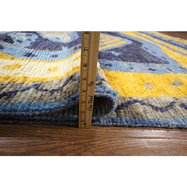 "Blue Wool Tullu Hand Knotted Rug - 7' 10"" X 10' 3"" - Image 10 of 10"