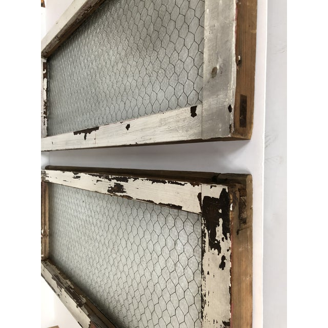 1890s Vintage Salvaged Police Station Chicken Wire Windows - a Pair For Sale - Image 10 of 13