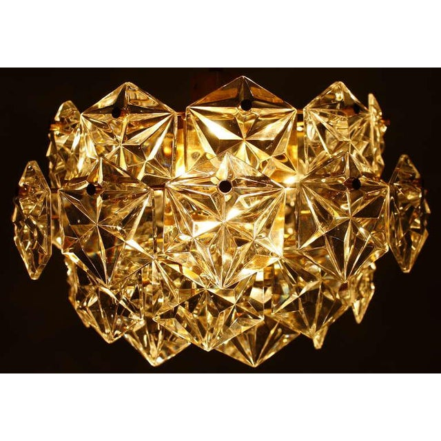 Mid-Century Modern Kinkeldey Crystal Glass Chandelier Gilded Metal, 1960s For Sale - Image 3 of 9