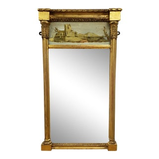 Antique Federal 19th Century Giltwood Eglomise Reverse Painted Gold Leaf Hanging Wall Mirror For Sale