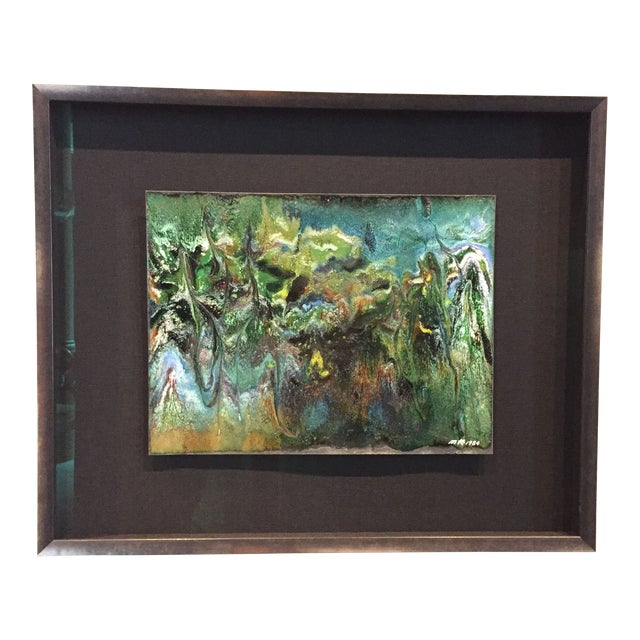 "Contemporary Abstract Framed Enamel Painting on Copper Untitled ""XVII"" by Ming Chiao Kuo For Sale"