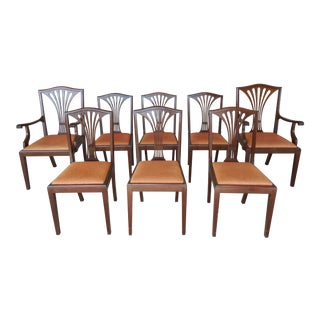 Antique Georgian Style Solid Mahogany Dining Chairs - Set of 8 For Sale