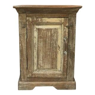 Rustic Washed Finish Teak Wood Bedside Cabinet For Sale