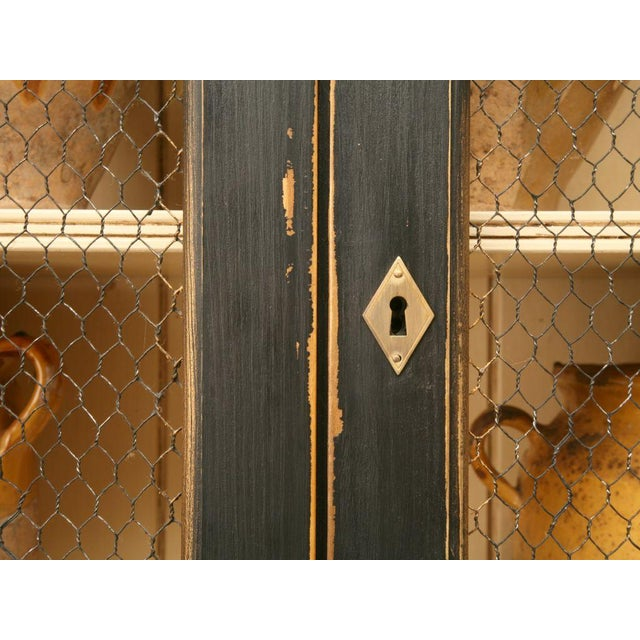 Directoire Style Painted Bookcase With Chicken Wire Doors For Sale - Image 9 of 11
