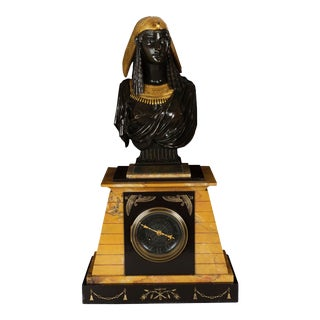 """Egyptian Revival Antique Bronze Sculpture on Clock of """"Isis"""" by Pierre Emile Hebert For Sale"""