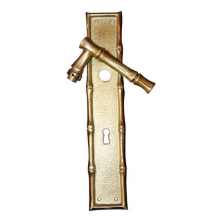 "Antique French Art Deco Maison Bagues ""Bamboo"" Gilt Dore Bronze Door Handle and Matching Door Back Plate For Sale"