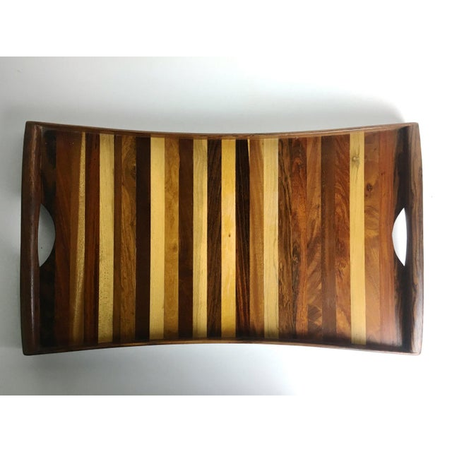 Don Shoemaker 1960s Vintage Don Shoemaker Tessellated Mixed Exotic Wood Serving Tray For Sale - Image 4 of 6