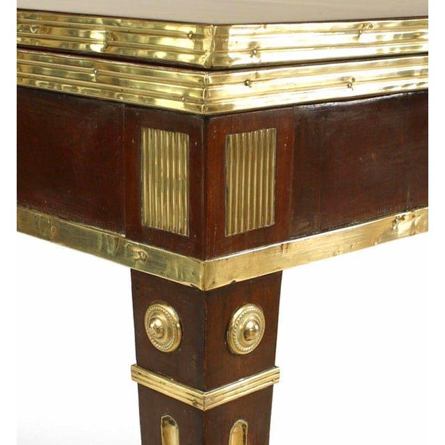 Russian Neoclassic Brass-Mounted Mahogany Game Table or Console For Sale - Image 4 of 5