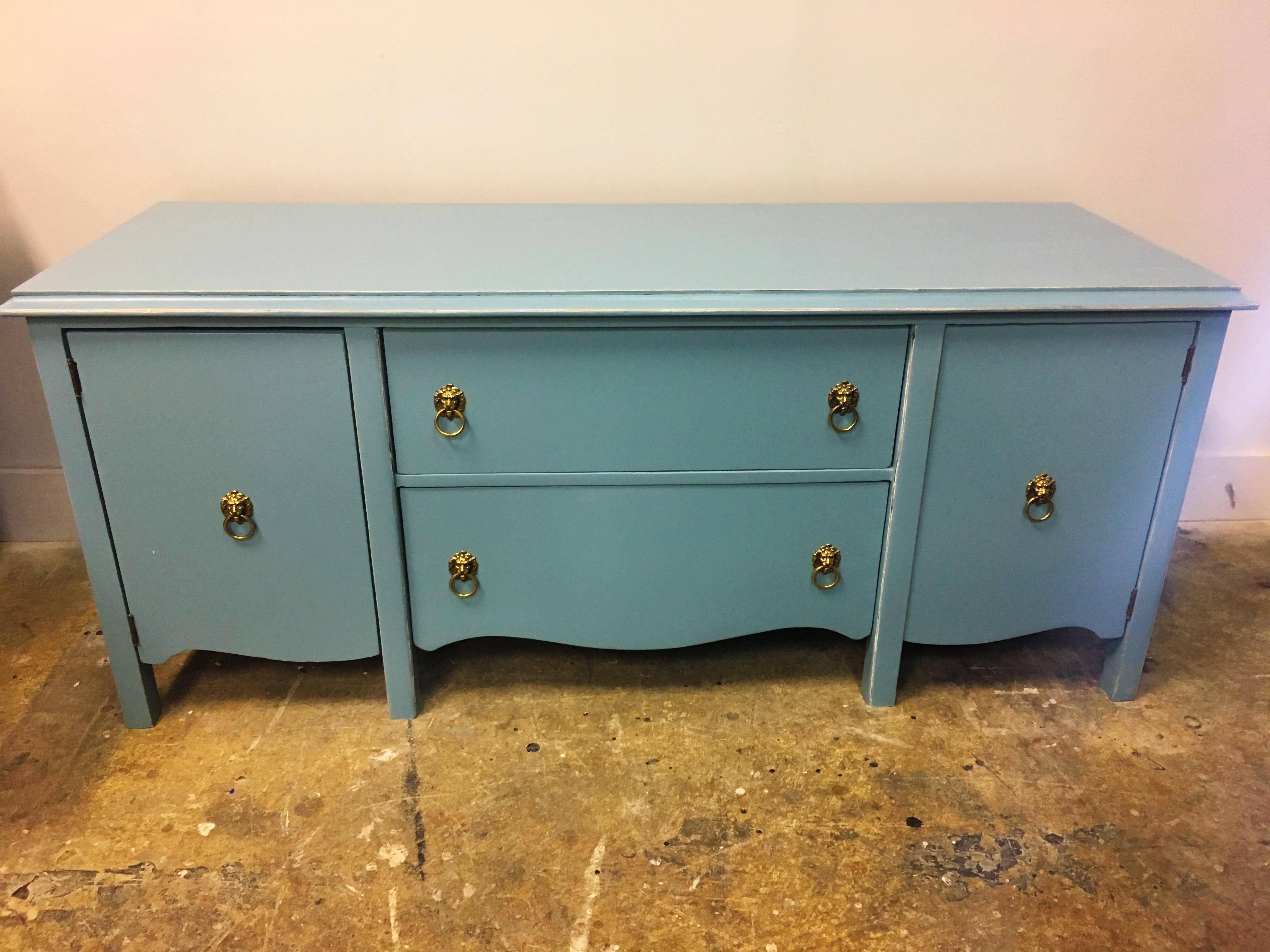 Beau Refinished Teal Media Cabinet   Image 6 Of 7
