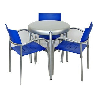 Contemporary Modern Circular Metal Dinette Table 3 Chairs Carlo Bartoli Segis For Sale