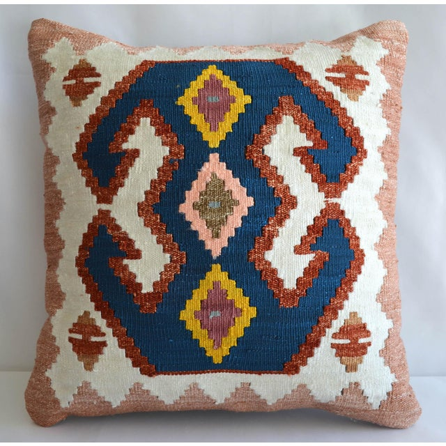 Turkish Hand-Made Kilim Pillow Silk Cushion Cover - 16″ X 16″ For Sale In Raleigh - Image 6 of 6