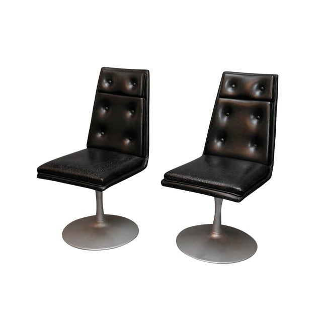 Metal Mid-Century Swivel Black Leather Chrome Chairs- A Pair For Sale - Image 7 of 8