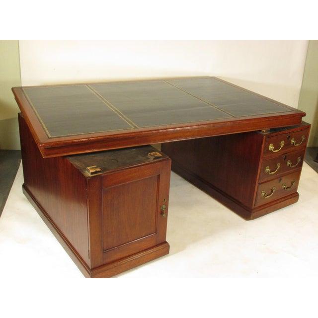 1900s Edwardian Partners Desk For Sale - Image 11 of 13