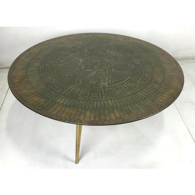 Modern Italian Etched Bronze Cocktail Table For Sale - Image 3 of 5