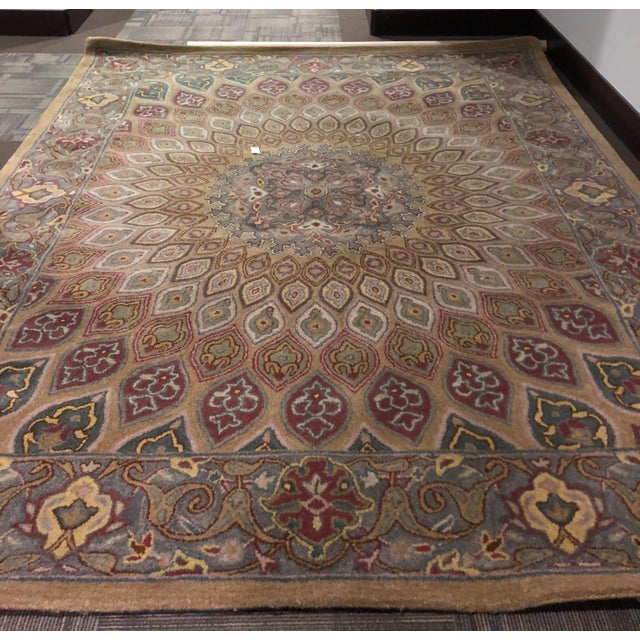 Boho Chic Safavieh Heritage Wool Hand Tufted Light Brown Grey Rug - 7'6 X 9'6 For Sale - Image 3 of 8