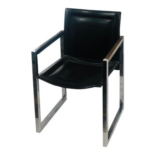 Arrben Italy Black Leather and Chrome Dining Chairs - Set of 6 For Sale