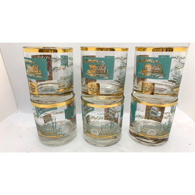 Transparent 1950s Mid-Century Culver Steamboat Lowball Glasses - Set of 6 For Sale - Image 8 of 8
