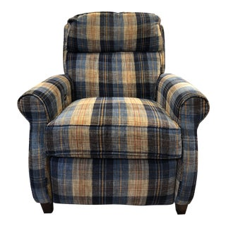Comfort Designs Leslie Plaid Upholstered Armchair - Electric Recliner For Sale