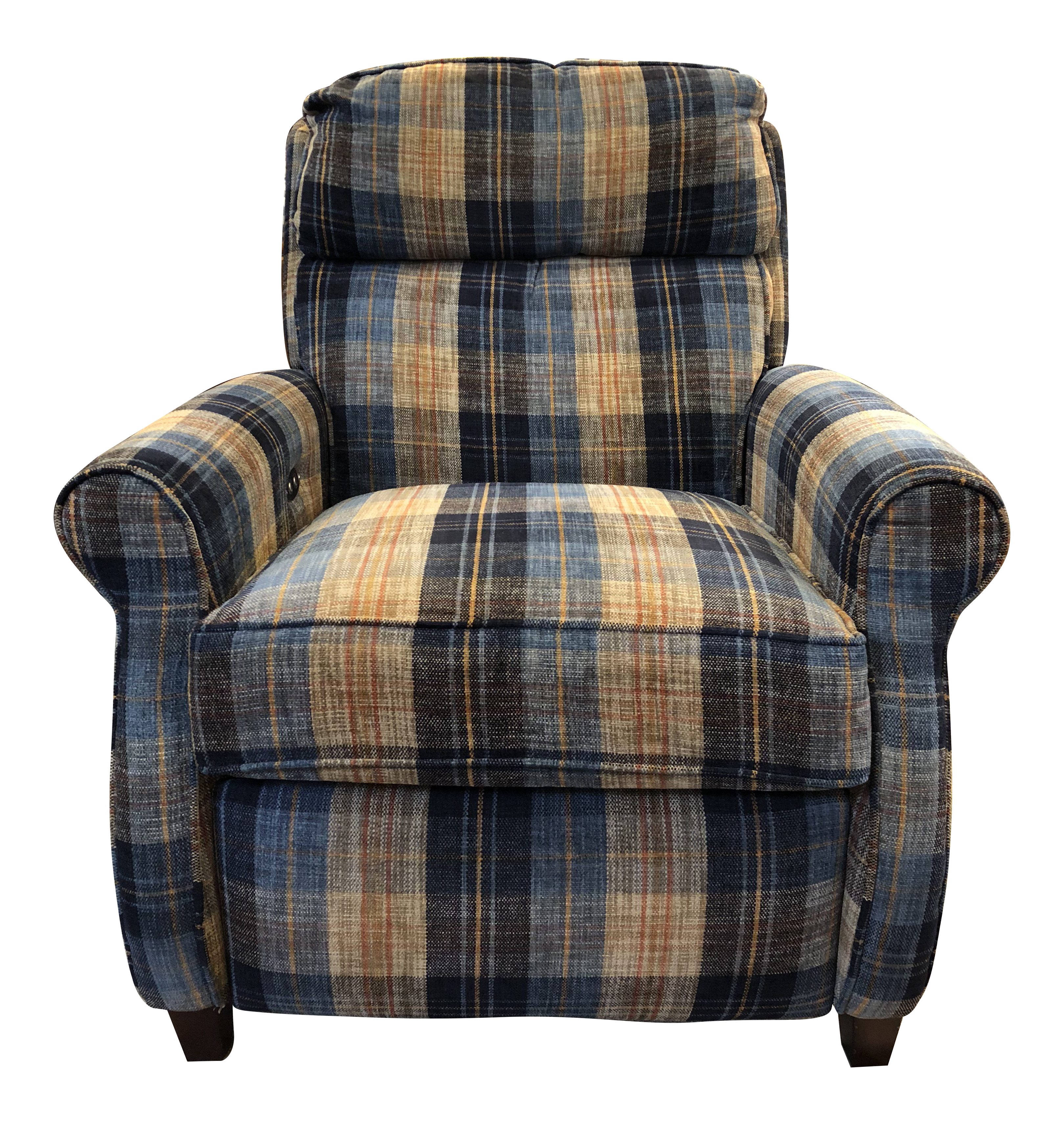Comfort Designs Leslie Plaid Upholstered Armchair   Electric Recliner