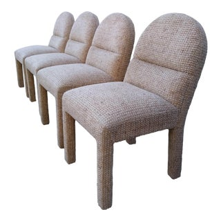 Vintage White Upholster Chairs- Set of 4 For Sale