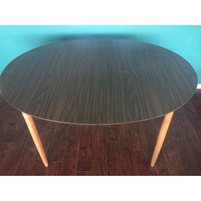 Mid Century Modern Oval Table With Leaf - Image 3 of 11