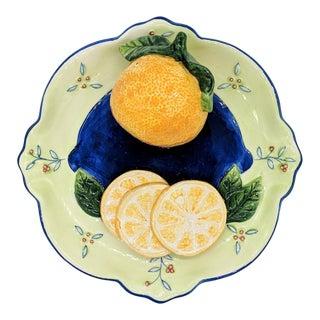 Bella Casa Trompe l'Oeil Orange Fruit Plate For Sale