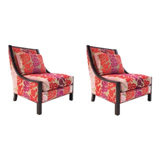 Barbara Barry for Baker Modern Cut Velvet Orange and Pink Slipper Chairs - a Pair For Sale