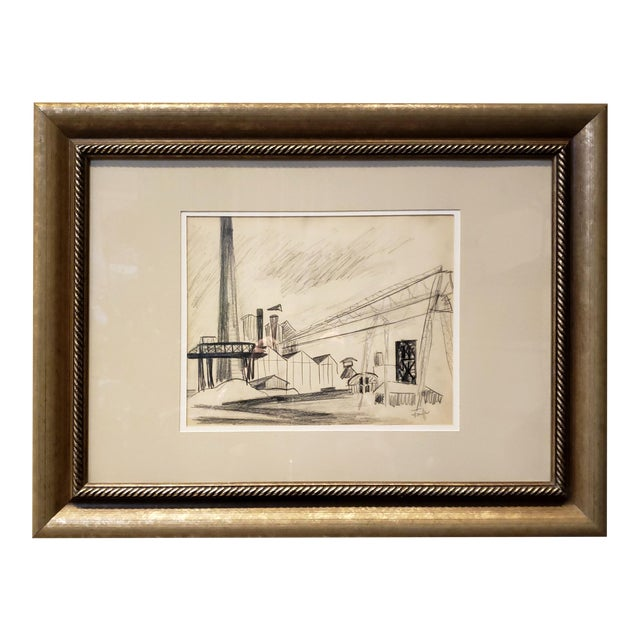 Mid Century Industrial Factory Charcoal Drawing by Tonia Cariffa For Sale