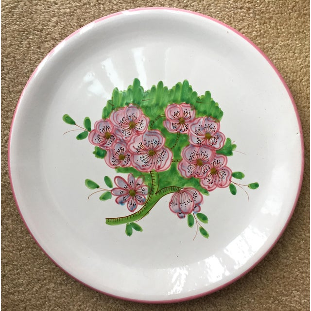 "Ceramic Italian Faience Geraniums Platter-13"" For Sale - Image 7 of 7"