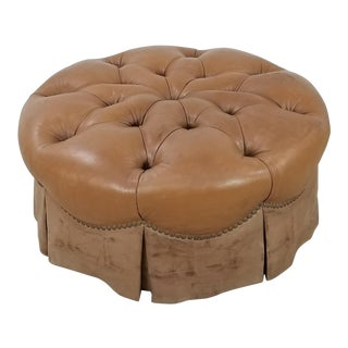 Tufted Chesterfield Leather Ottoman For Sale