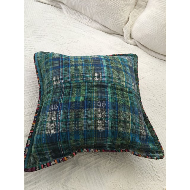 Original Guatemalan Textile Cushion Case in Teal For Sale - Image 9 of 10