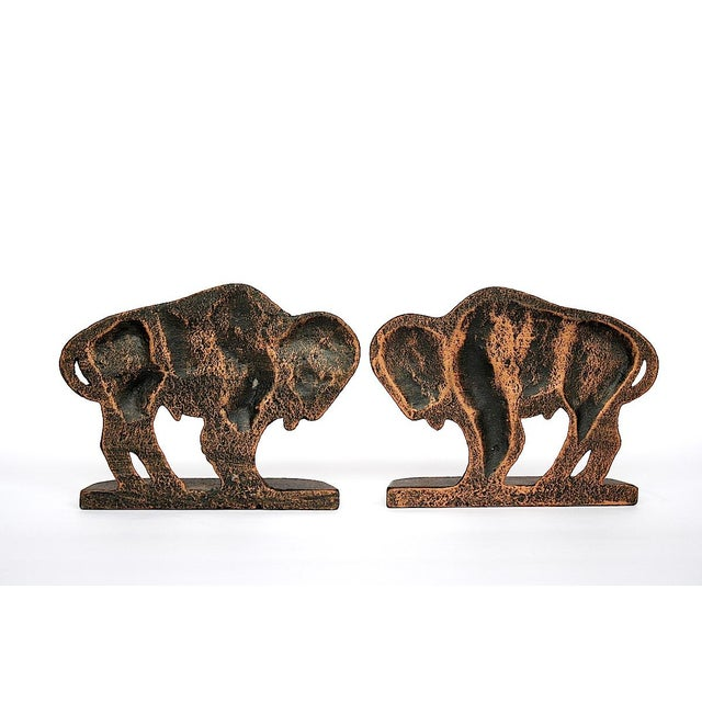 Vintage cast metal buffalo bookends would make a striking decor accent in a cozy rustic cabin, man cave, Southwestern...